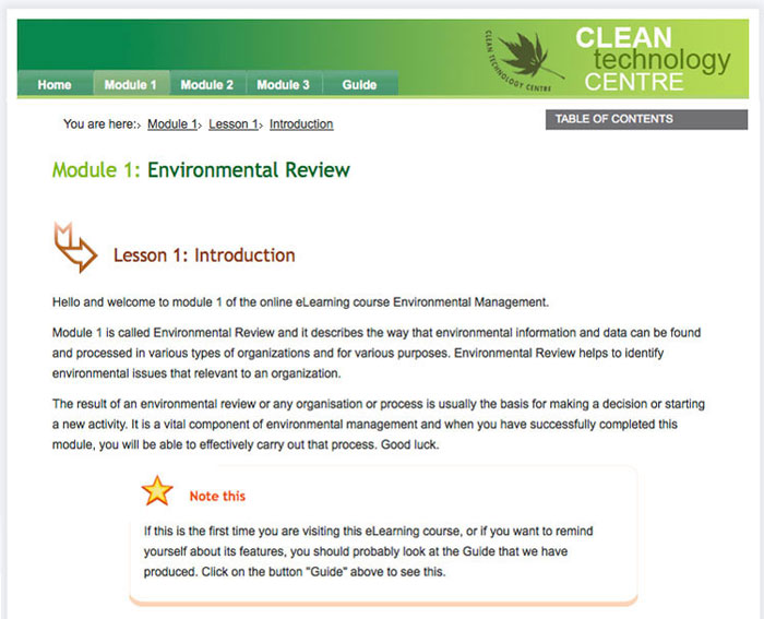 Clean Technology Centre Online Training