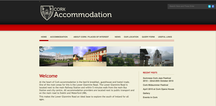 Cork Accommodation Home Page